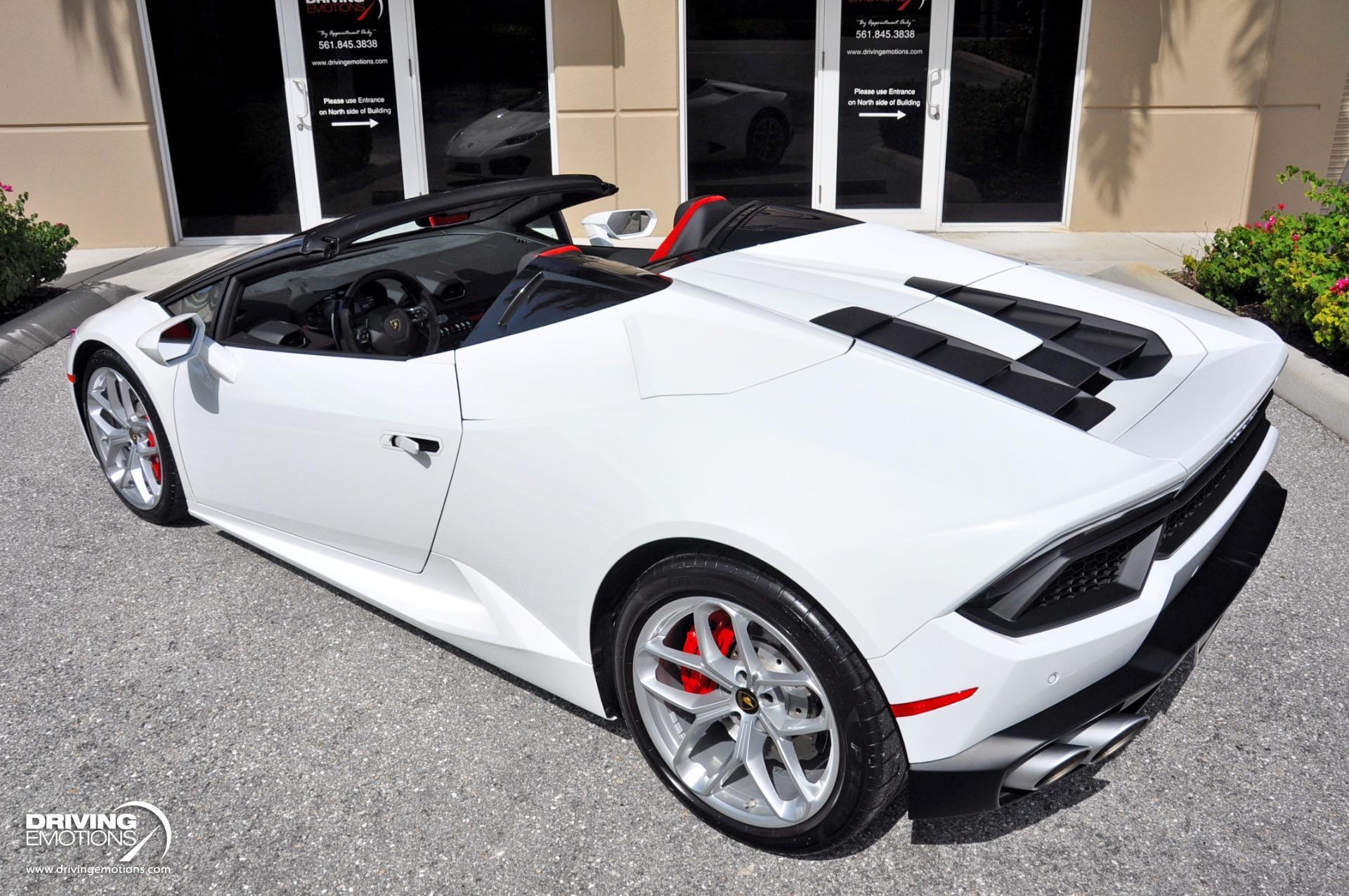 Used 2018 Lamborghini Huracan LP580-2 Spyder LP 580-2 Spyder White/Red! Front Lift!!   Lake Park, FL